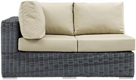 """Modway Summon EEI1872GRY 57.5"""" Outdoor Patio Sunbrella Left Arm Facing Loveseat with Washable Fabric Cushions, Stainless Steel Legs and Powder Coated Aluminum Tube Frame in Canvas"""
