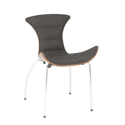 Euro Style 02817DKGRY Stefano Series Modern Fabric Chromed steel Frame Dining Room Chair