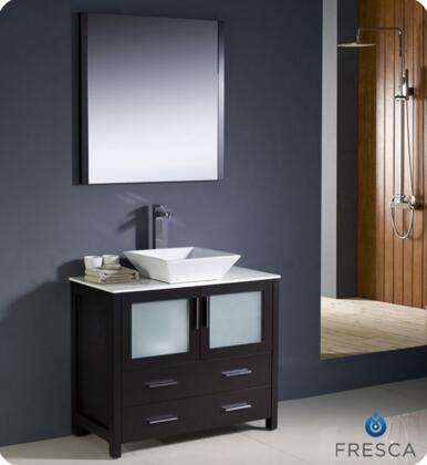 """Fresca Torino Collection FVN6236XX-VSL 36"""" Modern Bathroom Vanity with Vessel Sink, Mirror and 2 Frosted Glass Panel Soft Closing Doors in"""
