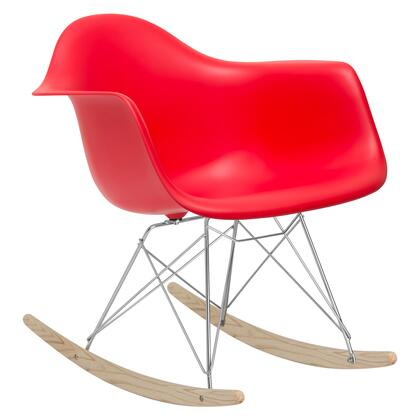 EdgeMod EM121RED Rocker Series  Wood and Metal Frame Rocking Chair