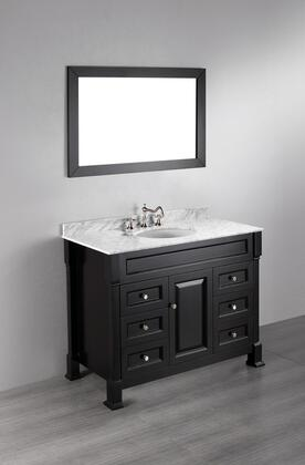 "Bosconi SB278XX 43"" Contemporary Single Vanity with Six Drawers, One Door, Wooden Construction, Marble Top and a Ceramic Sink in XXX"
