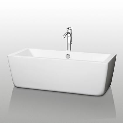 Wyndham Collection WCOBT1005 Laura Soaking Bathtub, with Acrylic Construction, Cable-driven Pop-up Drain, Adjustable Base, and Overflow, in White
