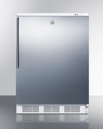 """Summit VT65MLBISSH 24"""" Medically Approved Upright Freezer with 3.5 cu. ft. Capacity, Factory Installed Lock, Fully Finished White Cabinet and Three Slide Out Drawers in Stainless Steel"""