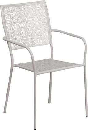 "Flash Furniture CO-2 17"" Indoor-Outdoor Steel Patio Arm Chair with Square Back, Integrated Arms and Plastic Floor Glides in"