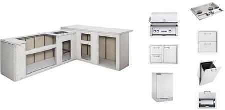 Lynx Lx000x Sedona Series Ready to Finish Island Package with Sedona Grill, Door Drawer, Double Side Burner, Trash Center, Paper Towel Dispenser, Double Utility Drawers and Compact Refrigerator