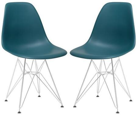 EdgeMod EM104CRMTEAX2 Padget Series Modern Metal Frame Dining Room Chair