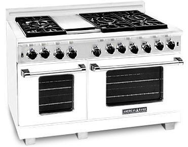 "American Range ARR4842GRW 48"" Heritage Classic Series Gas Freestanding Range with Sealed Burner Cooktop, 4.8 cu. ft. Primary Oven Capacity, in White"