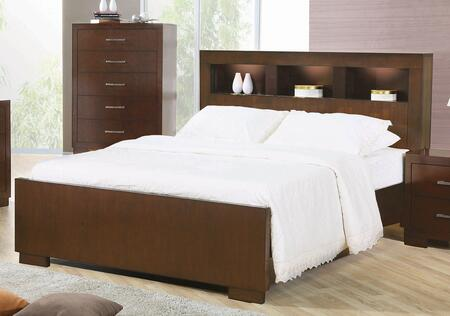 Coaster 200719 Jessica Collection X Size Contemporary Bed with Storage Headboard and Built in Lighting: Light Cappuccino