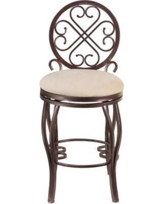 Chintaly LILYXXTPE LILY Taupe Microsuede Traditional Style Memory Taupe Microsuede Swivel Stool - Hammered Brown