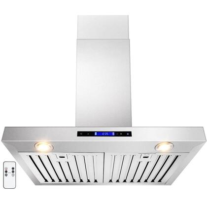 """Golden Vantage GWRZ130 30"""" Wall Mounted Range Hood with 760 CFM, 65 dB, Innovative Touch, Halogen Lighting, 3 Fan Speed, Stainless Steel Baffle Filter, Remote Control and X: Stainless Steel"""