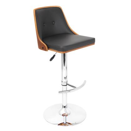 """LumiSource Nueva BS-JY-NU W 37"""" - 42"""" Barstool with 360 Degree Swivel, Chrome Base and Button-Tufted Back in"""