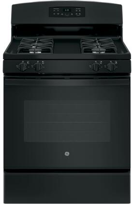 """GE JGB635DEK 30"""" Freestanding Gas Range with 5 Cu. Ft. Oven Capacity, Precise Simmer Burner, Electronic Touchpad, Self-Clean Oven, 4 Sealed Burners, and In-Oven Broil:"""