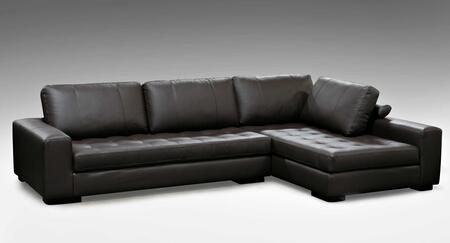 Diamond Sofa EILEENRF2PCSECTM Eileen Series Sofa and Chaise Leather Sofa