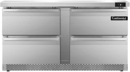 """Continental Refrigerator SWF60F 60"""" Worktop Freezer with 17 Cu. Ft. Capacity, Front Breathing Compressor, Aluminum Interior, Interior Hanging Thermometer, and Environmentally-Safe Refrigerant, in Stainless Steel"""