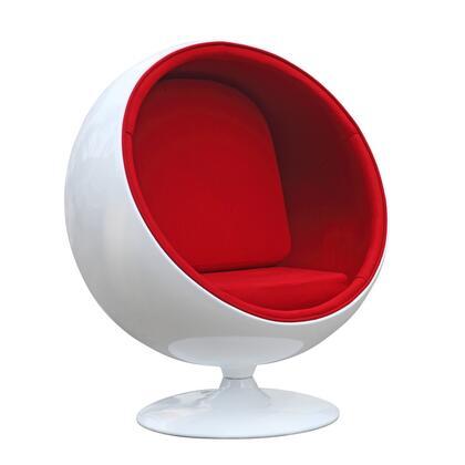 Fine Mod Imports FMI1150RED Ball Series Lounge/Armchair Fabric: 100% Wool Fiberglass Frame Accent Chair