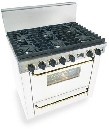 """FiveStar WTN3117SW 36"""" Gas Freestanding Range with Sealed Burner Cooktop, 3.69 cu. ft. Primary Oven Capacity, Broiler in White with Brass"""