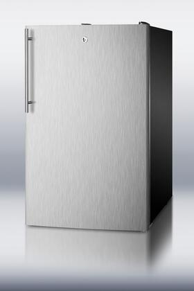 "Summit CM421BLBISSHV0 20"" Top Freezer Refrigerator with 4.1 cu. ft. Capacity, Professional Vertical Stainless Steel Handle, Factory Installed Lock and Adjustable Glass Shelves in Stainless Steel"