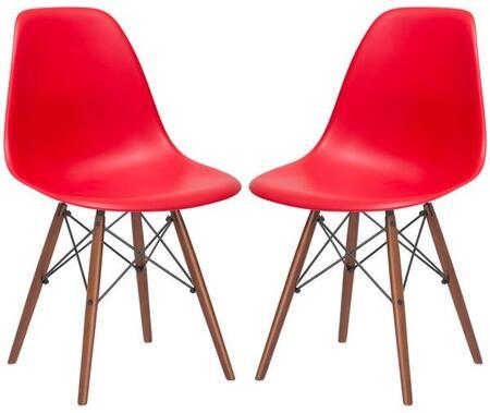EdgeMod EM105WALREDX2 Vortex Series Modern Wood Frame Dining Room Chair