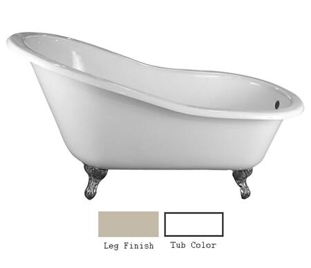 "Barclay CTSN57 57"" Grayson Cast Iron Slipper Tub with Overflow and No Faucet Holes in"