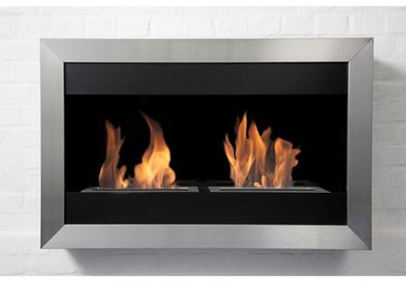 Bio-Blaze BBSQS2 Square Series Wall Mountable Vent Free Bioethanol Fireplace