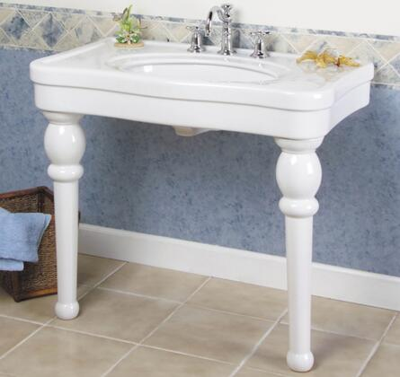 "Barclay PGVC Versailles X"" Console Sink with Large Deck and Fine Fire Clay Construction in White"