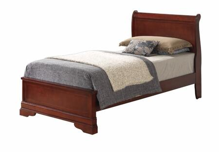 Glory Furniture G3100 Collection Bed with Front Bracket Feet and Wood Veneer Construction in