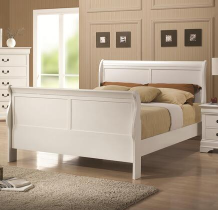 Coaster 204691 Louis Philippe 204 Sleigh Bed with Headboard, Footboard and Side Rails & Slats in White Finish