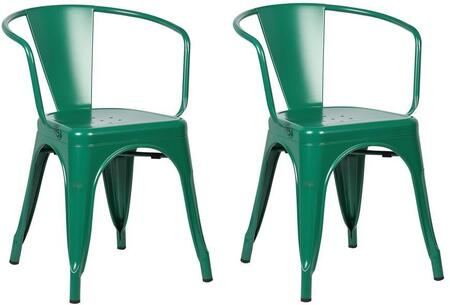EdgeMod EM113DGRNX2 Trattoria Series Modern Metal Frame Dining Room Chair