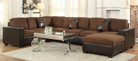 Acme Furniture Dannis Microfiber Sectional Sofa 56000 Chocolate ...