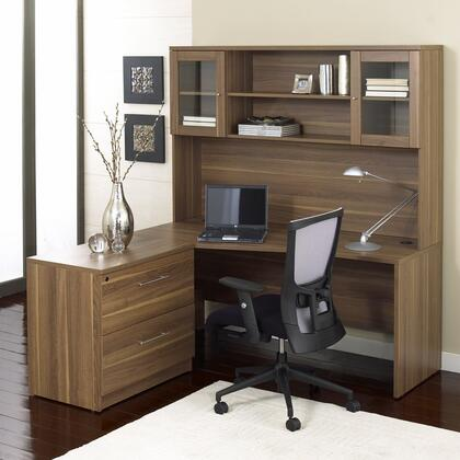 Unique Furniture 1C100001LXX Corner L Shaped Desk - Left Side with Hutch and Lateral File
