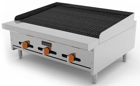 "Sierra SRCBx "" Char-Rock Broilers with Burners, BTU Per Burner, Total BTU, in Stainless Steel"