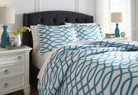Signature Design by Ashley Leander Q72003 3 PC Size Duvet Cover Set includes 1 Duvet Cover and 2 Standard Shams with Geometric Design and Polyester Material in Turquoise Color