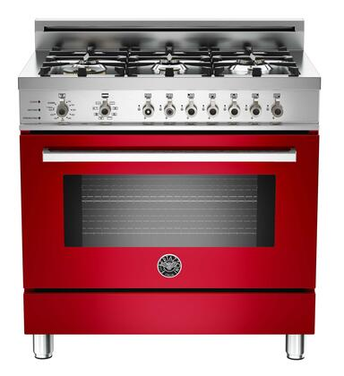 "Bertazzoni PRO366DFSROLP 36"" Professional Series Dual Fuel Freestanding Range with Sealed Burner Cooktop, 4.0 cu. ft. Primary Oven Capacity, in Red"