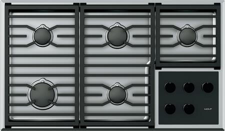 """Wolf CG365T 36"""" Transitional Gas Cooktop with 5 Burners, Dual-Stacked Burners, Continuous Cast-Iron Grates, Individual Spark Ignition System, and Easy-Clean Seamless Burner Pan: Stainless Steel"""