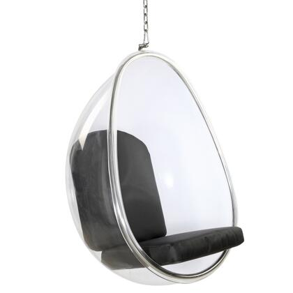 Fine Mod Imports FMI9237 Balloon Hanging Chair: Clear Acrylic With Polished Chrome Base