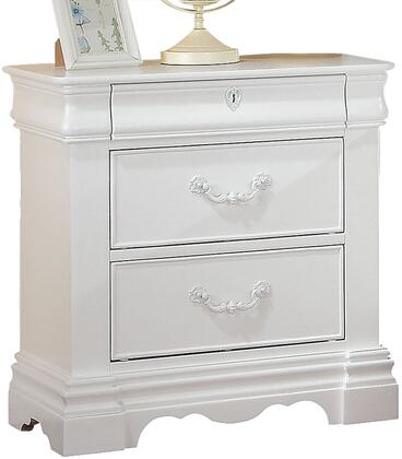 """Acme Furniture Estrella Collection 26"""" Nightstand with 3 Drawers, Bronze Metal Hardware, Faux Key Decor, Kenlin Center Metal Drawer Glide, Pine Wood Construction in"""