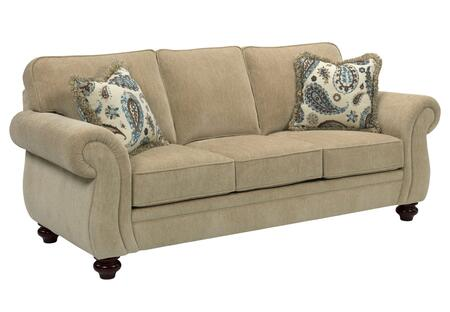 """Broyhill Cassandra 3688-3/COLOR 89"""" Wide Sofa with 2 Fringe Pillows, DuraCoil Seat Cushion and Turned Bun Feet in"""