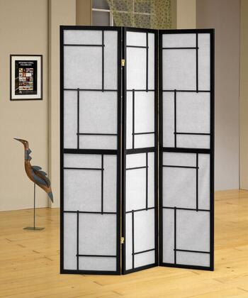 """Coaster Folding Screens 70.25"""" Folding Floor Screen with Three Panels, Geometric Design and Wood Construction in"""