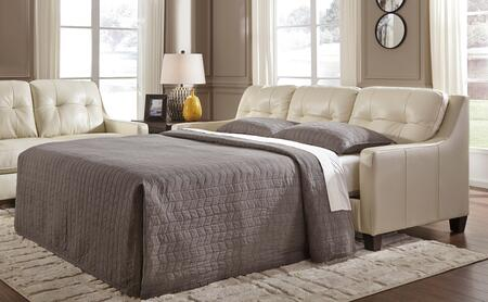 """Signature Design by Ashley O'Kean 5910X39 86"""" Pull-Out Queen Sofa Sleeper with Leather Match Upholstery, Memory Foam Mattress and Tufted Back Cushions in"""
