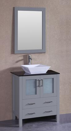 """Bosconi AGR130SQBGX XX"""" Single Vanity with Black Tempered Glass Top, Flared Square White Ceramic Vessel Sink, F-S02 Faucet, Mirror, 2 Doors and X Drawers in Grey"""