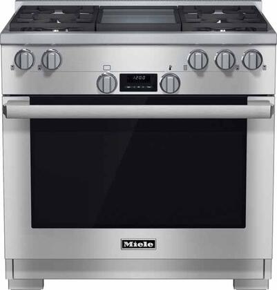 "Miele HR1136GD 36"" Pro-Style Gas Range with 5.8 cu. ft. Twin Convection Fan Oven, 4 Sealed M Pro Dual Stacked Burners, TrueSimmer Burners, Self-Cleaning, M Pro Infrared Griddle, and 5 Operating Modes in"