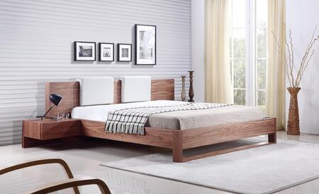 Casabianca Bay Collection Platform Bed with 2 Attached Nightstands, 2 Eco-Leather Headboard Pillows, Medium-Density Fiberboard (MDF) and Veneer Materials in Walnut Finish