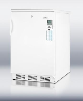 "Summit FF6LBIMEDX MED Series 24"" Medical Refrigerator with 5.5 cu. ft. Capacity, Automatic Defrost, High Temperature Alarm, Adjustable Glass Shelves, and Reversible Door, in White"