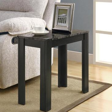 Monarch I 311X Accent Side Table, with Grey Marble-Look Top, Wood Construction, and Tapered Legs