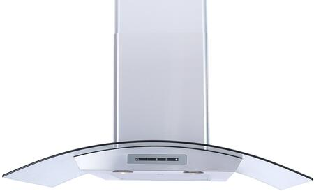 Windster WS-62N Tempered Glass Canopy Stainless Steel Wall Mount Range Hood