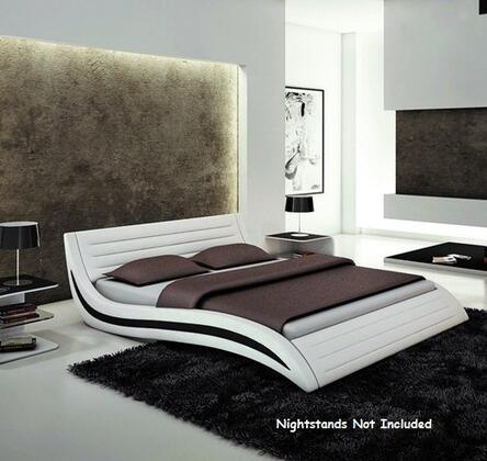 VIG Furniture VGEVBJ213 Modrest Apollo Platform Bed with Leatherette Upholstery in White