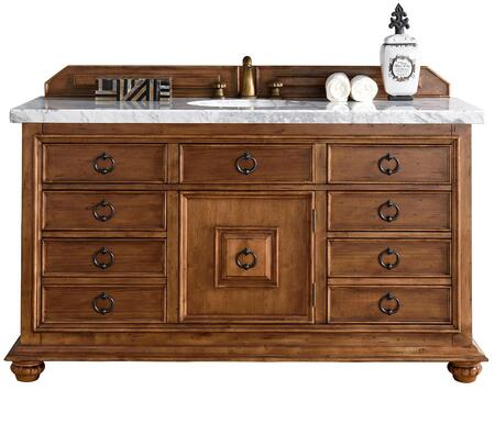 """James Martin Mykonos Collection 555-V60S-CIN- 60"""" Cinnamon Single Vanity with Seven Drawers, One Door, Antique Iron Hardware and"""