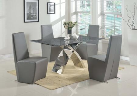 Chintaly INGRIDXXX5PC INGRID DINING 5 Piece Set - Rectangular Polished Blue Pearl Granite Dining Table with 4 Side Chairs