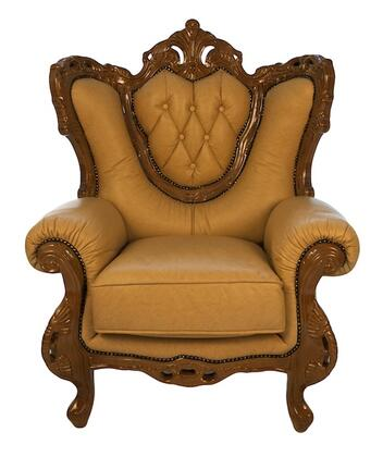 J. Horn 2118KHAKIC 2118 Series Leather Armchair with Wood Frame