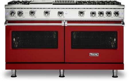 """Viking VGR5606GQX 60"""" 5 Series Freestanding Natural Gas Sealed Burner Range With 6 Brass Sealed Burners, Grill, Griddle, VariSimmer, SoftLit LED, in"""